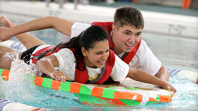 Students Participating in the Cardboard boat Regatta